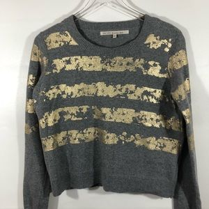 Rachel Roy Gold Foil embellished cotton sweater s